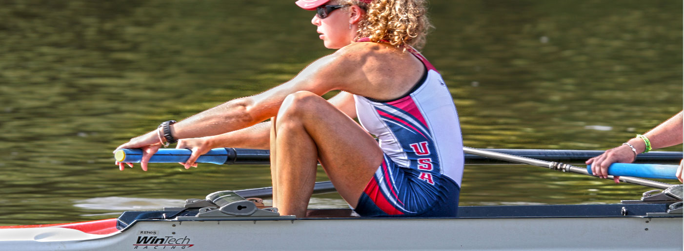 Closeup on Womans rowing menmber