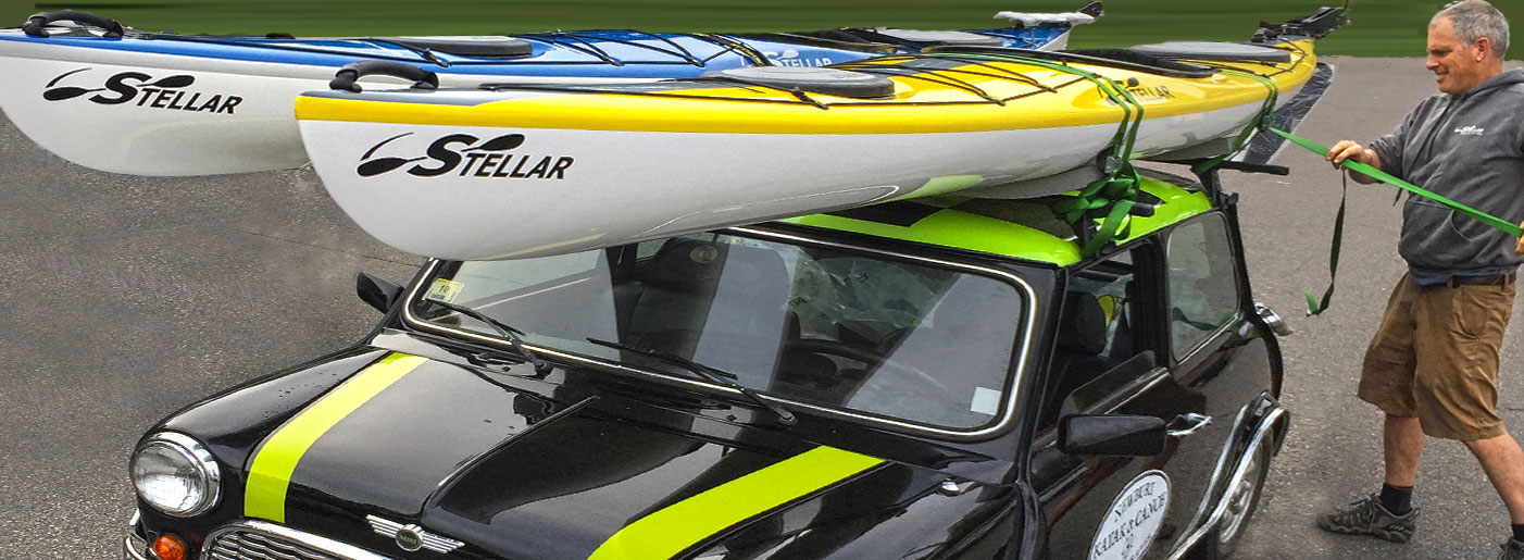 stellar kayaks on a mini cooper